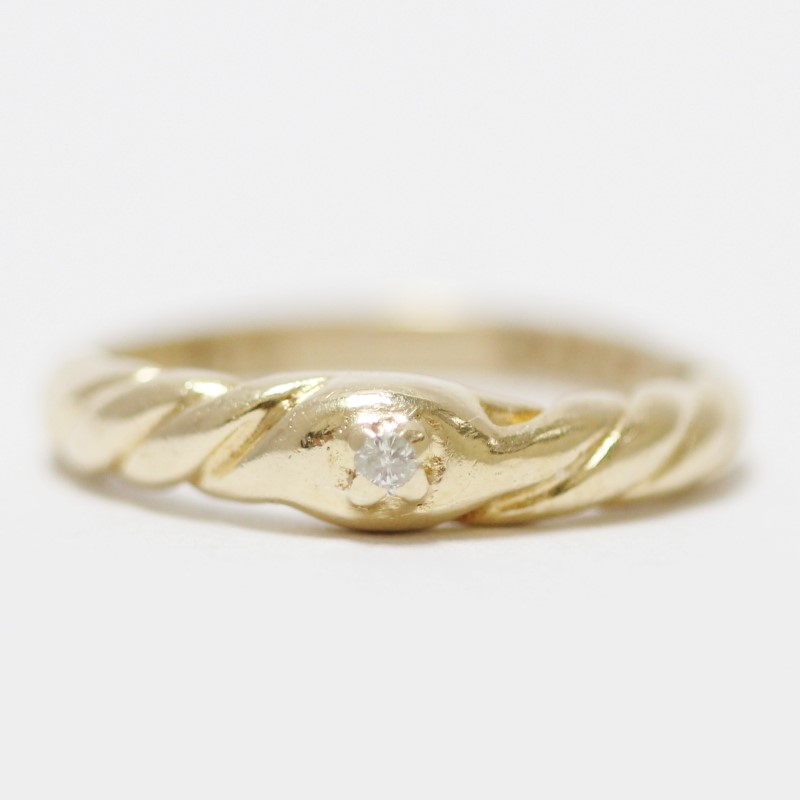14K Twisted Yellow Gold Band & Diamond Solitaire Ring Size 5.5