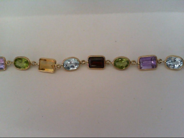 Amethyst Gold-Stone Bracelet 14K Yellow Gold 6.3g