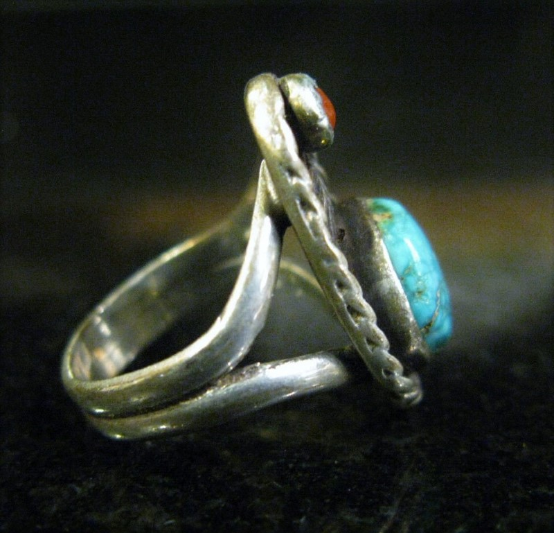 American Turquoise & Coral Signed Shadowbox Ring