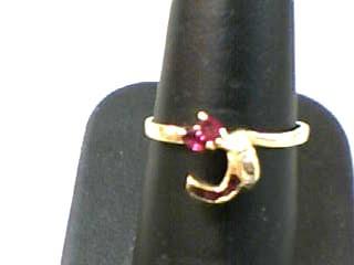 Ruby Lady's Stone & Diamond Ring 4 Diamonds .020 Carat T.W. 14K Yellow Gold