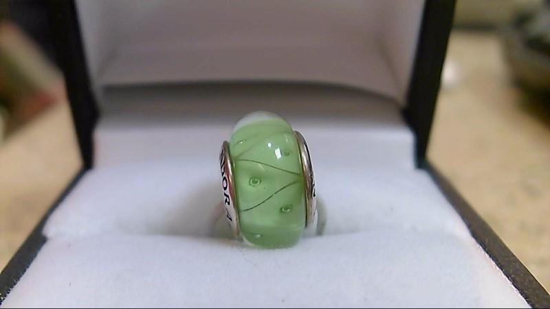 Pandora Green Murano Glass Silver Charm 925 Silver