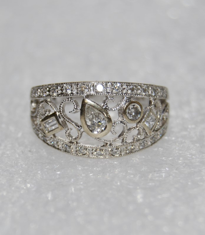 14K White Gold Unique Pear, Princess, Baguette Diamond Funky Filigree Dome Ring