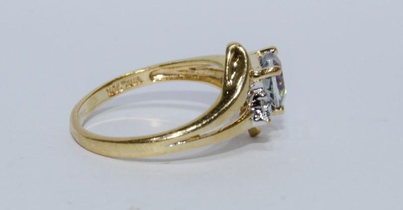 10K Yellow Gold Adorable Split Bypass Shank Heart Mystic Topaz & Diamond Ring6.7