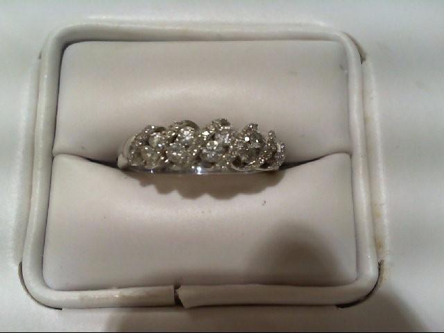 Lady's Silver-Diamond Ring 46 Diamonds .316 Carat T.W. 925 Silver 2.8g