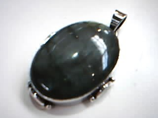 Gray Stone Silver-Stone Pendant 925 Silver 15g