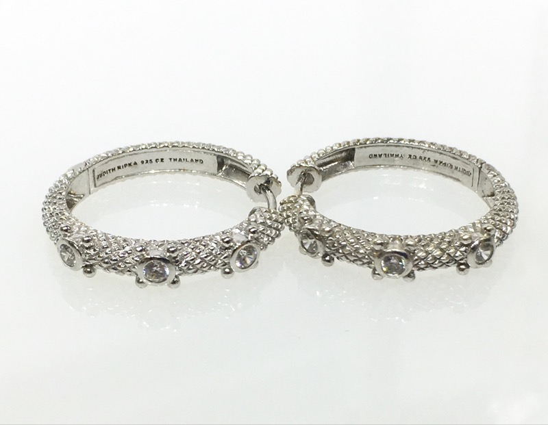 Judith Ripka 3 Stone Diamonique CZ Textured Hinge Hoop Earrings