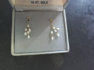 Synthetic Pearl Gold-Stone Earrings 14K Yellow Gold 0.6dwt