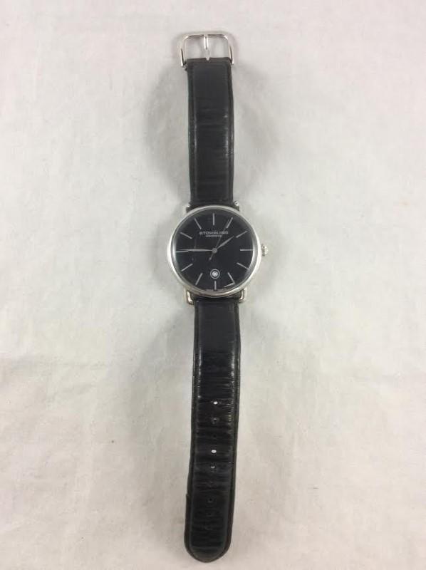 Stuhrling Original Ascot Mens Black Wristwatch Model 768.02 Krysterna Crystal