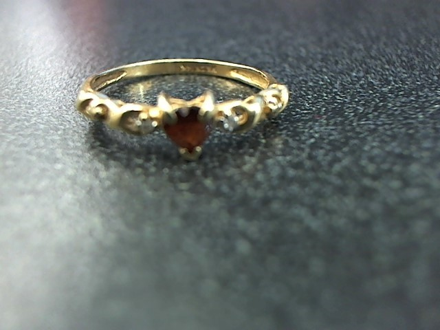 Red Stone Lady's Stone & Diamond Ring 2 Diamonds .02 Carat T.W. 14K Yellow Gold