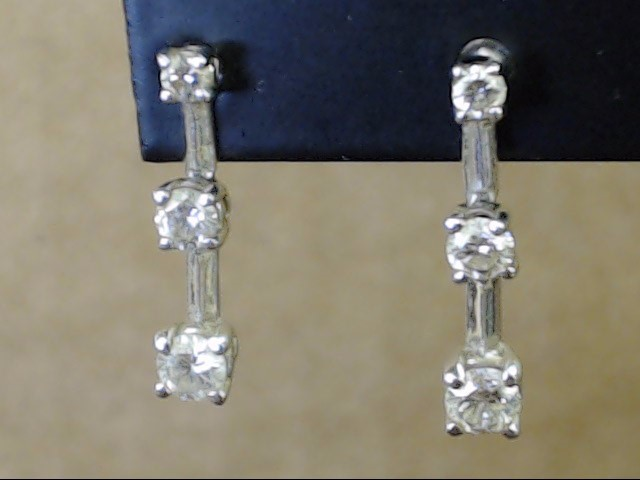 VINTAGE PAST PRESENT FUTURE DIAMOND EARRINGS SOLID 14K WHITE GOLD