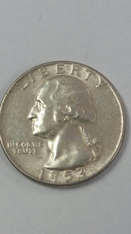 1953 Pre-64 Washington Quarter 25c 90% Silver NO MINT MARK