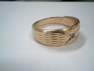 Gent's Gold-Diamond Wedding Band .03 CT. 14K Yellow Gold 5g Size:7.5