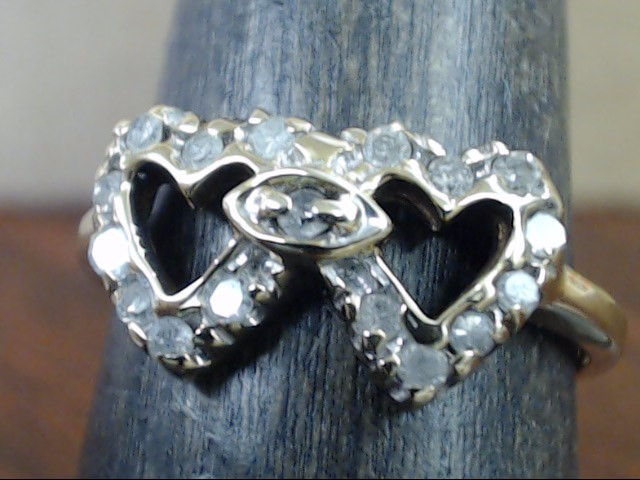 DIAMOND DOUBLE TWIN HEARTS RING SOLID 10K GOLD PROMISE LOVE SIZE 7