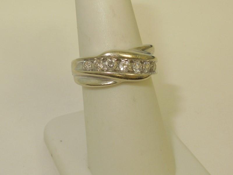 Gent's Diamond Fashion Ring 7 Diamonds .49 Carat T.W. 14K White Gold 7.8g