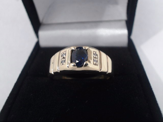 Synthetic Sapphire Lady's Stone Ring 10K Yellow Gold 7g