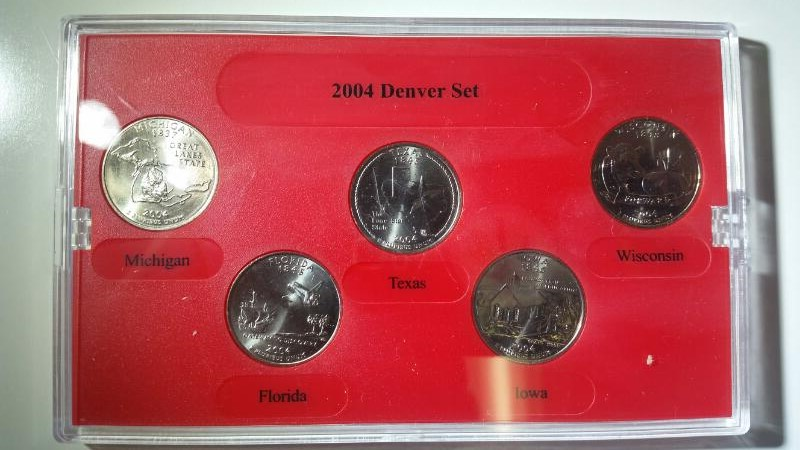 2004 Denver Mint State Quarter Collection Uncirc MI, FL, TX, IA, WI