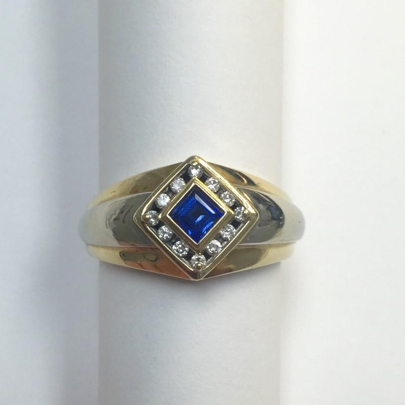 Synthetic Sapphire Gent's Stone & Diamond Ring 12 Diamonds .12 Carat T.W.