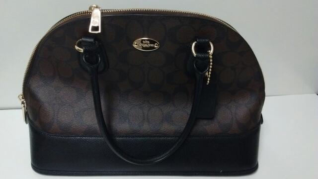 Coach Signature Cora Domed Satchel Handbag/Purse Dark Brown/Black F33904