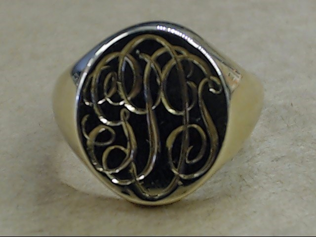 ESTATE TIFFANY & CO MONOGRAM RING 14K YELLOW GOLD HEAVY 15.8g SIZE 9
