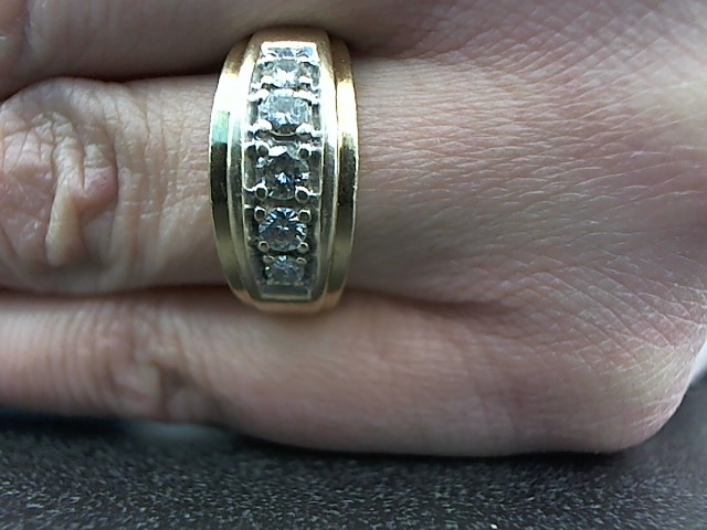 Gent's Gold-Diamond Wedding Band 5 Diamonds .40 Carat T.W. 10K Yellow Gold 8.1g