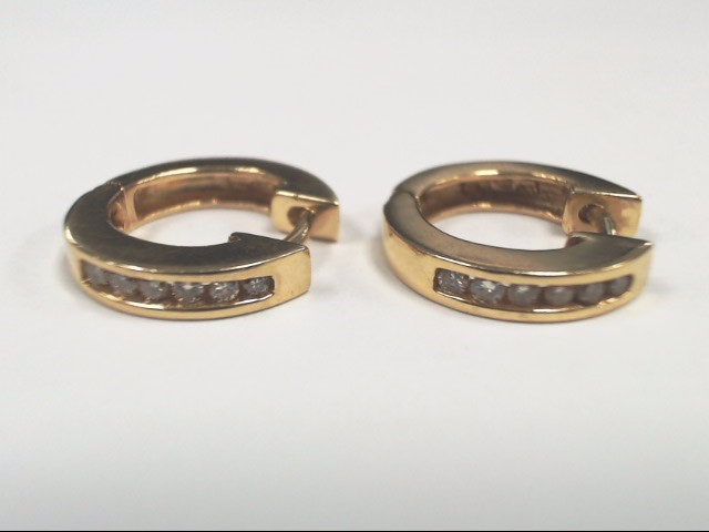 Gold-Diamond Earrings 12 Diamonds .12 Carat T.W. 14K Yellow Gold 5.1g