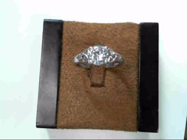 Synthetic Cubic Zirconia Lady's Silver & Stone Ring 925 Silver 2.2dwt