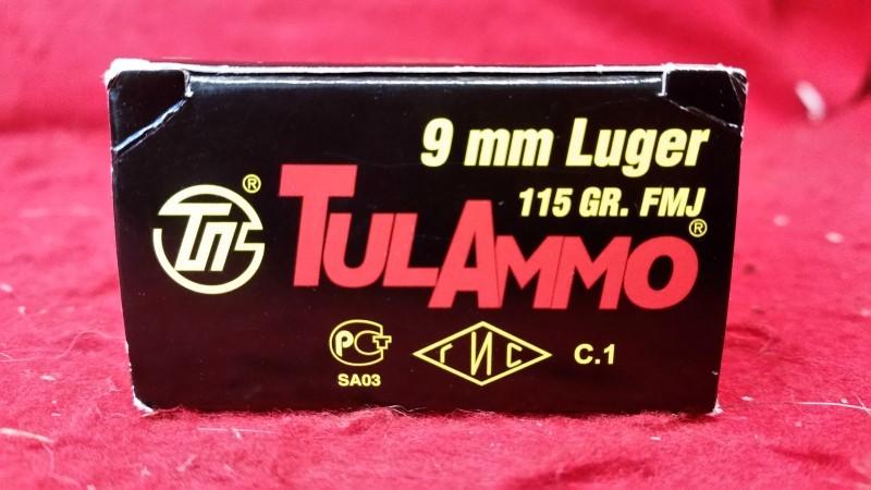 Tula Ammo 9mm 115gr FMJ Ammo