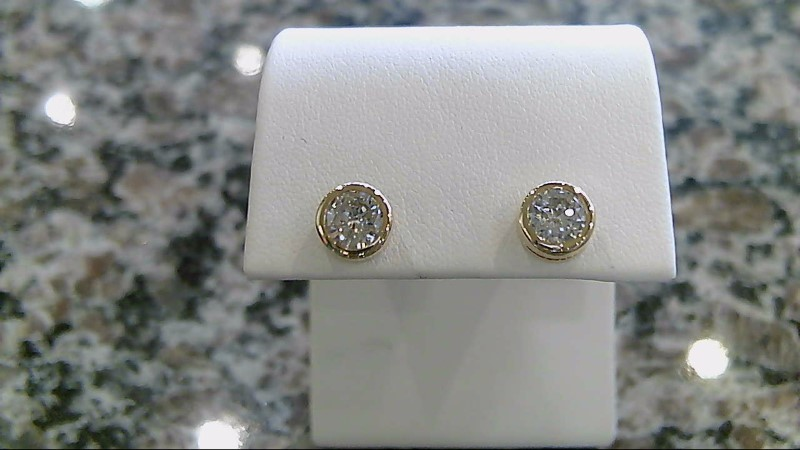 Gold-Diamond Earrings 2 Diamonds .76 Carat T.W. 14K Yellow Gold 1.8g