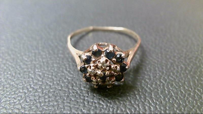 Synthetic Sapphire Lady's Stone & Diamond Ring 5 Diamonds .05 Carat T.W.
