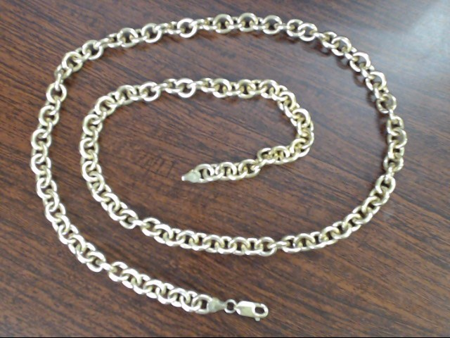 ROLO CABLE LINK NECKLACE CHAIN SOLID 10K GOLD HEAVY 77g LONG 28""