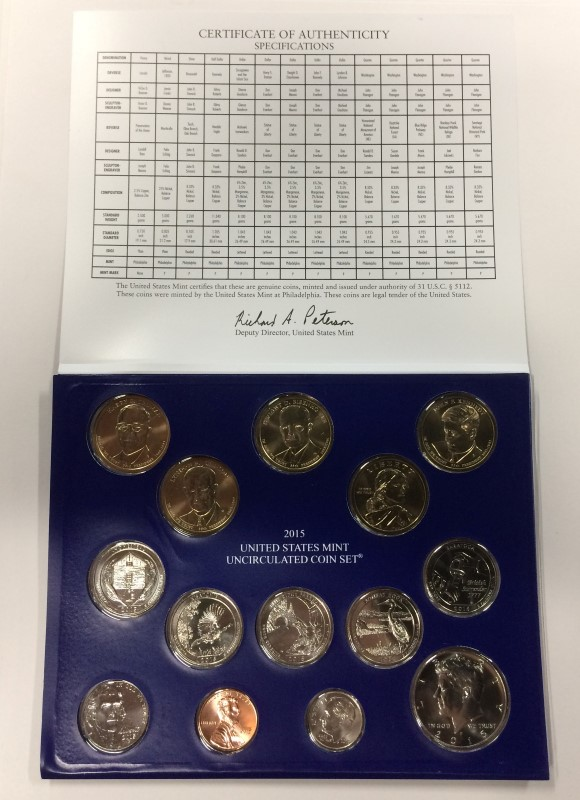 2015 UNITED STATES MINT UNCIRCULATED PHILADELPHIA COIN SET