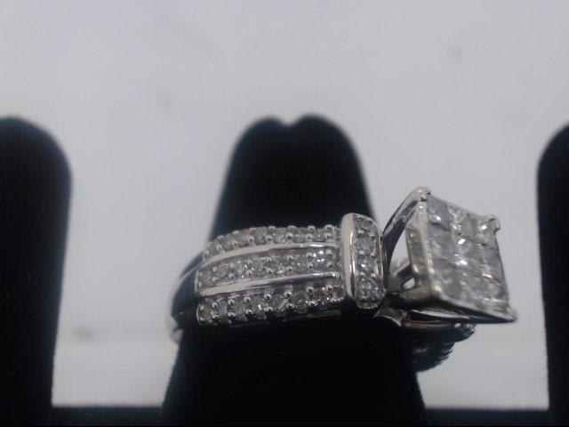 Lady's Diamond Engagement Ring 59 Diamonds 1.94 Carat T.W. 10K White Gold 5.9g