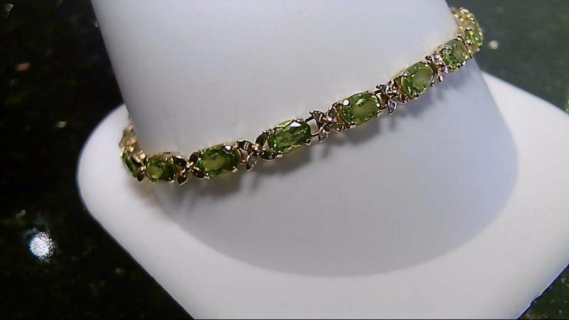 """7"""" Peridot Gold-Stone Bracelet 14K Yellow Gold 6.1g"""