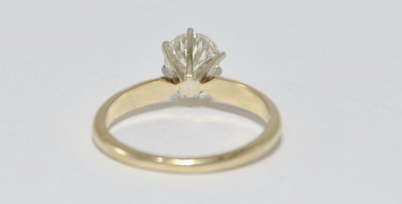 14K Yellow Gold .80ct 6 Prong Set Round Brilliant Diamond Engagement Ring sz 7