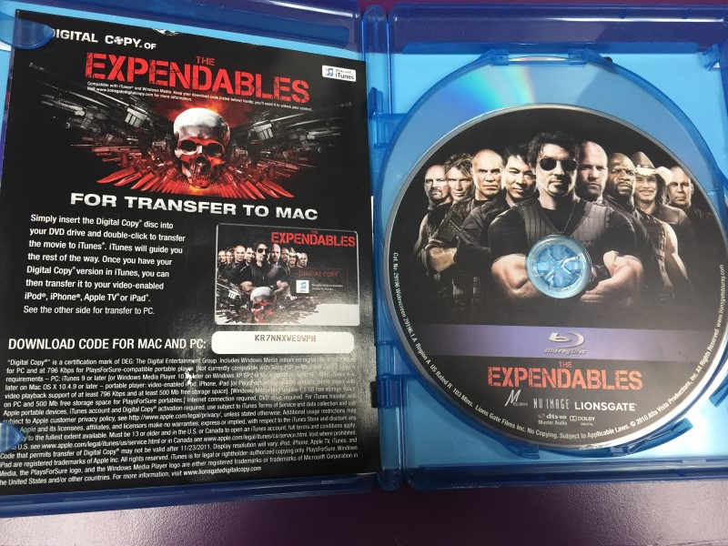 THE EXPENDABLES BLU-RAY + DVD + DIGITAL COPY