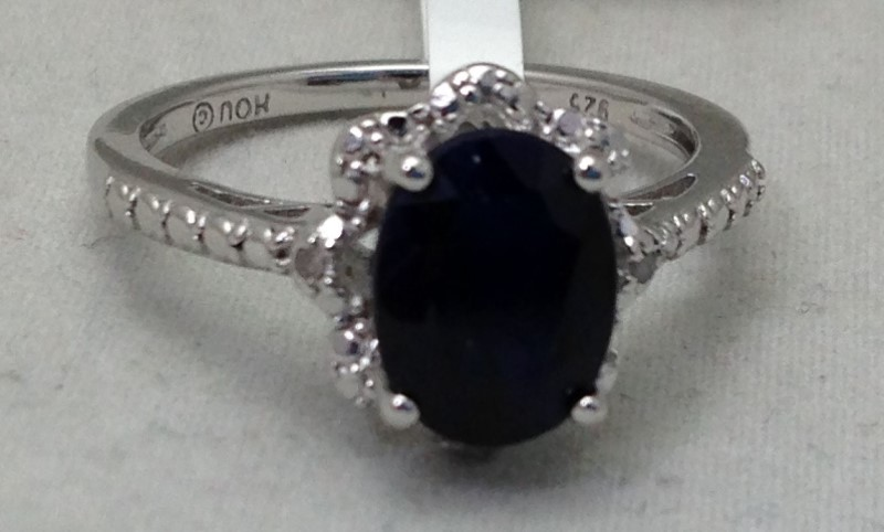 2.2ct Oval Blue Sapphire With .02ctw Two Diamond Accent Sterling Silver Ring