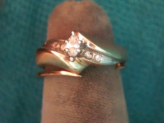 Lady's Diamond Wedding Set 5 Diamonds .16 Carat T.W. 10K Yellow Gold 3.1dwt