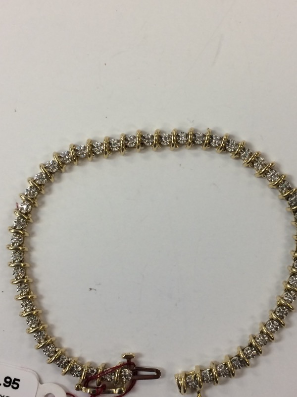 Gold-Diamond Bracelet 36 Diamonds .36 Carat T.W. 14K Yellow Gold 8.7g