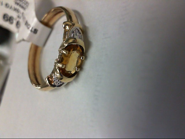 Yellow Stone Lady's Stone Ring 10K Yellow Gold 1g
