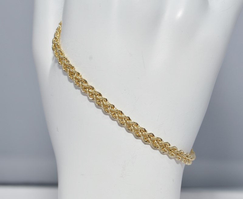 "7"" 14K Yellow Gold Double Rope Style Bracelet 3mm"