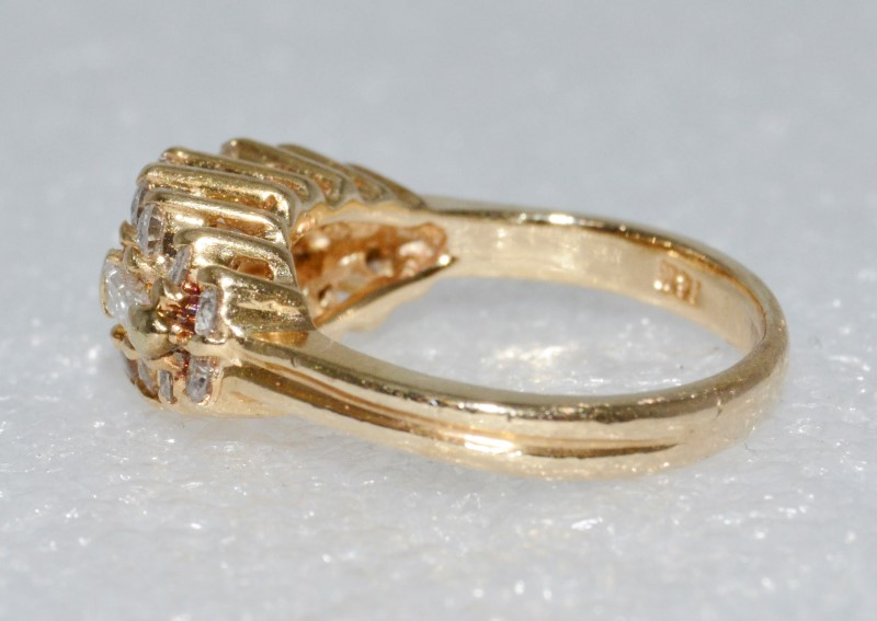 14K Yellow Gold Vintage Inspired Cathedral Sideways Baguette Diamond Ring sz 4.5