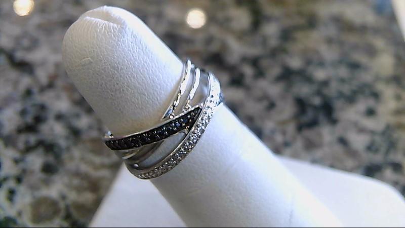 Lady's Silver-Diamond Ring 8 Diamonds .040 Carat T.W. 925 Silver 3.8g Size:6