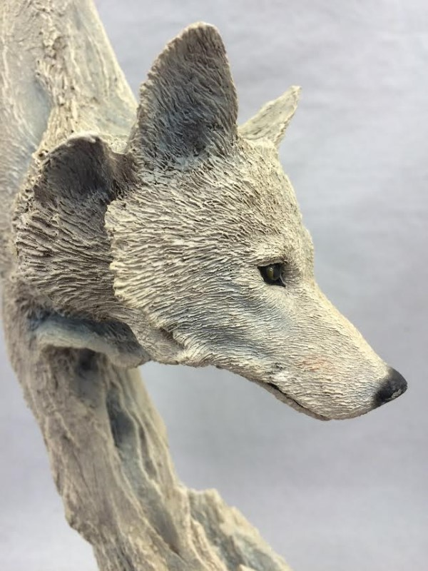 Limited Edition Rick Cain Signed Transcendental White Wolf Sculpture # 25/2500