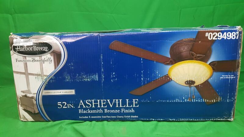 Harbor Breeze Asheville 52-in Burnished Bronze Flush Mount Indoor Ceiling Fan wi