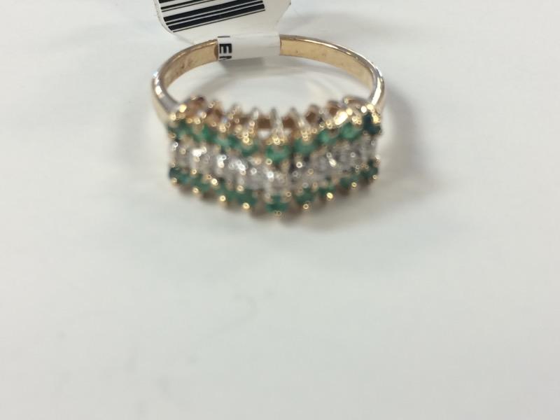 Synthetic Emerald Lady's Stone & Diamond Ring 10 Diamonds .10 Carat T.W.
