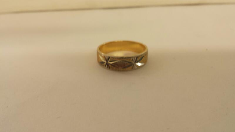 Gts 10K-Two Tone Wedding Band Size-8
