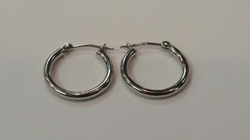 Gold Earrings 14K White Gold 0.5dwt