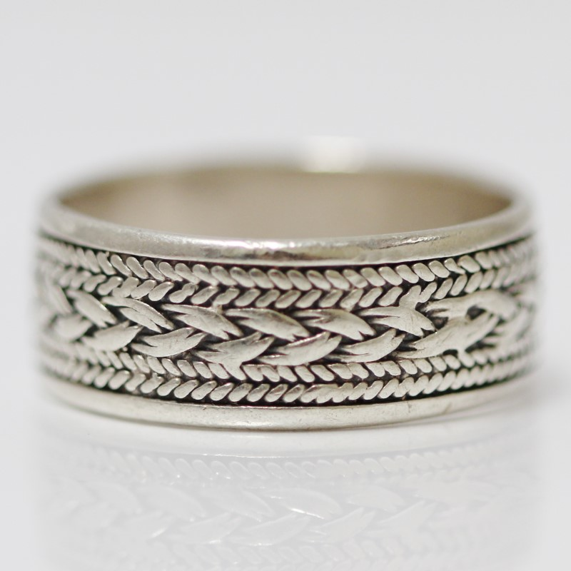 Women's Sterling Silver Braided Thread Design Ring Size:9