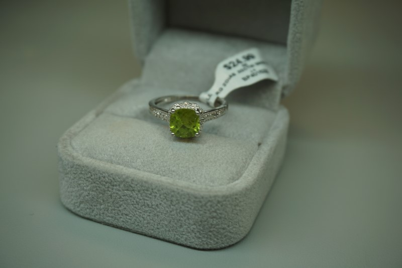 Green Stone Lady's Silver-Diamond & Stone Ring 2 Diamonds .02 Carat T.W.