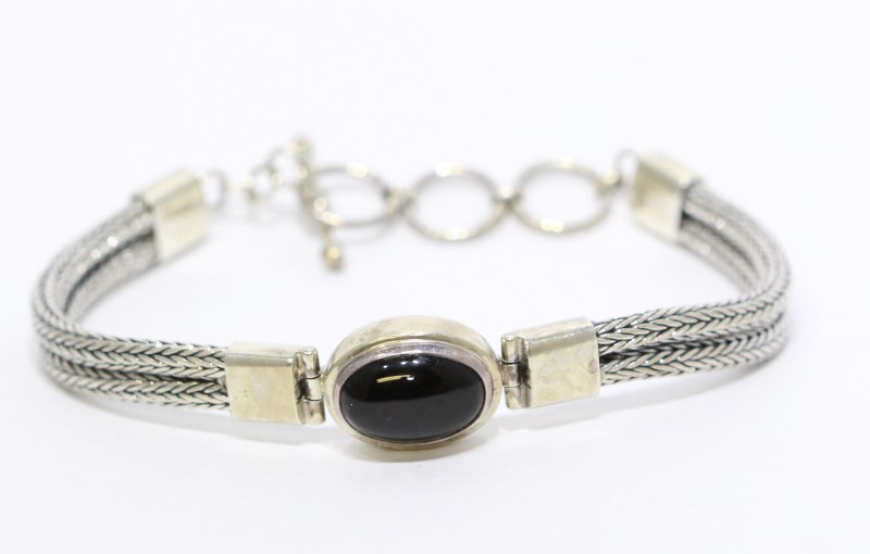 Sterling Silver Double Wheat Link Cabochon Black Onyx Toggle Bracelet